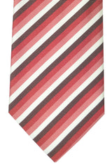Pal Zileri Tie White Pink Red Chocolate Stripes