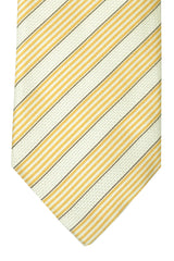 Pal Zileri Tie White Silver Yellow Stripes