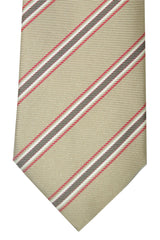 Pal Zileri Silk Tie Cream Red White Stripes Design