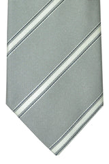 Pal Zileri Silk Tie Gray Black Silver Stripes Design