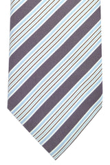 Pal Zileri Tie Plum Sky Blue White Silver Stripes