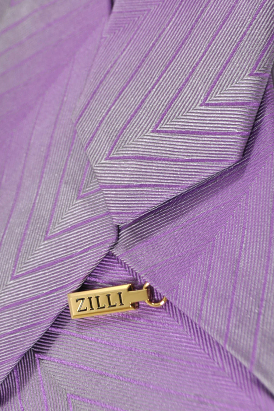 Zilli Silk Tie Lilac Silver Herringbone FINAL SALE