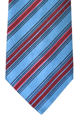 Zilli Tie Blue Red Pink Stripes - Sevenfold Necktie