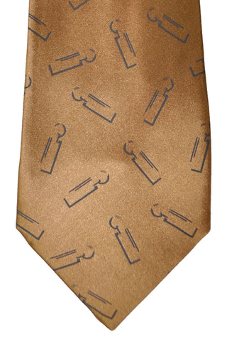 Zilli Tie Taupe Brown Logo Print FINAL SALE