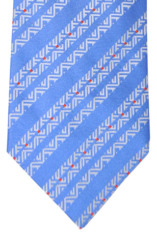 Zilli Tie Blue White Stripes - Wide Necktie FINAL SALE