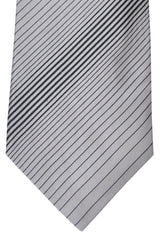Zilli Tie Gray Black Stripes - Wide Necktie