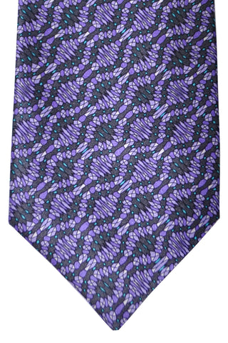 Zilli Tie Purple Gray Aqua - Wide Necktie