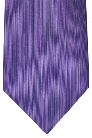 Zilli Tie Purple Vertical Stripes - Wide Necktie