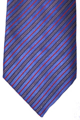 Zilli Tie Royal Blue Gold Red Stripes - Wide Necktie