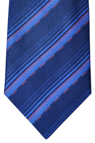 Zilli Tie Navy Pink Stripes - Wide Necktie