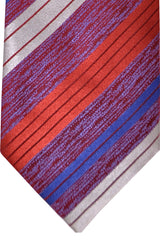 Zilli Tie Burgundy Navy Royal Blue Gray Stripes