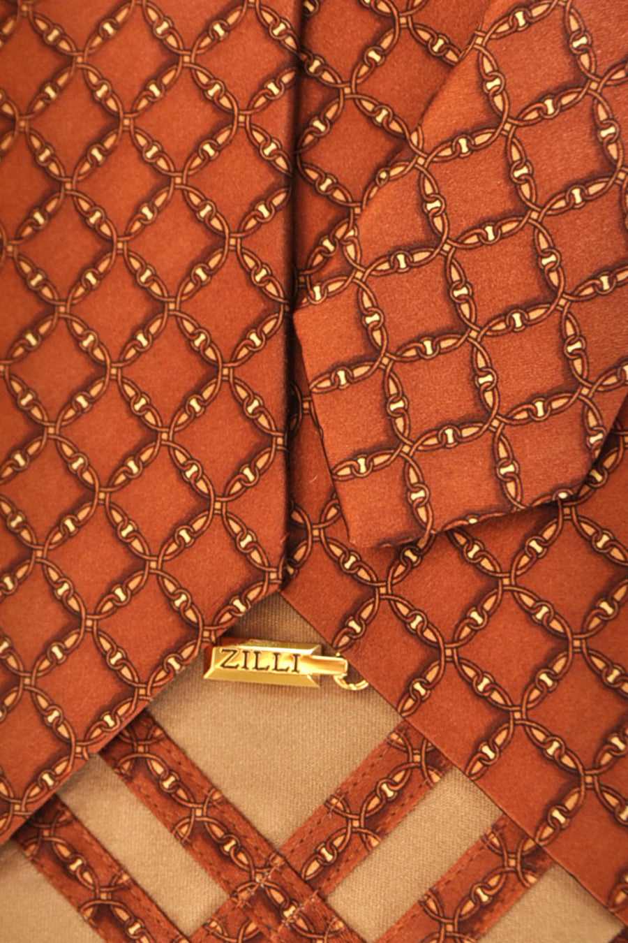 Zilli Tie Brown Gold Geometric - Wide Necktie FINAL SALE
