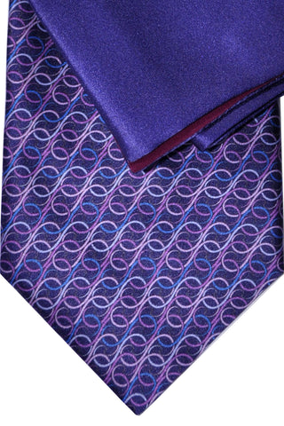 Zilli Tie & Pocket Square Set Purple Geometric