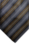Zilli Tie Black Silver Gold Stripes - Wide Necktie