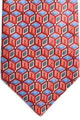 Zilli Cashmere Tie Pink Gray Blue Geometric - Conservative Width