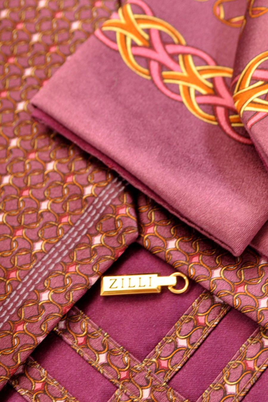 Zilli Tie & Pocket Square Set Plum Pink Gold Geometric