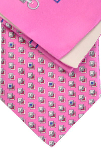 Zilli Tie & Pocket Square Set Pink Gray Geometric