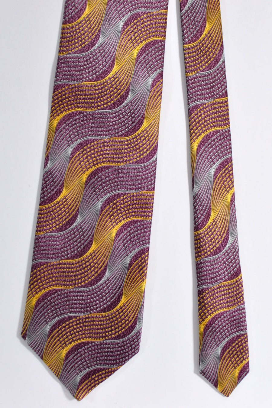 Zilli Tie & Pocket Square Set Purple Gold Gray Swirl