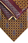 Zilli Tie & Pocket Square Set Maroon Gold Geometric