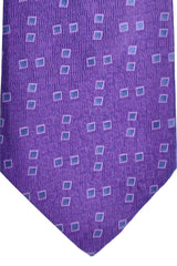 Zilli Tie Purple Gray Pink Geometric - Wide Necktie