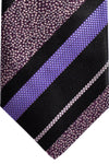 Zilli Tie Black Purple Stripes - Wide Necktie