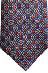 Zilli Tie Navy Red Silver Geometric - Wide Necktie