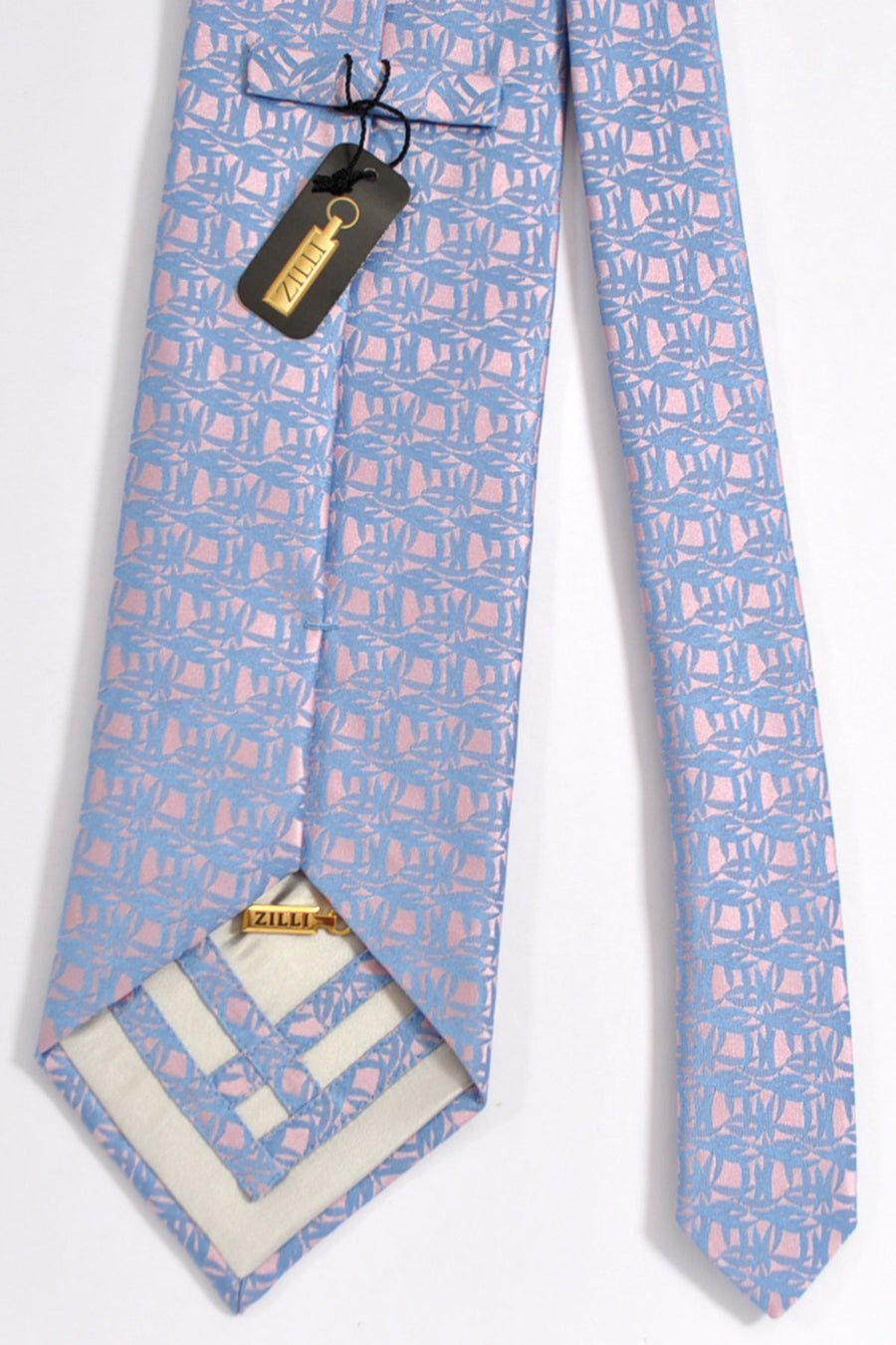 Zilli Tie Pink Powder Blue - Wide Necktie