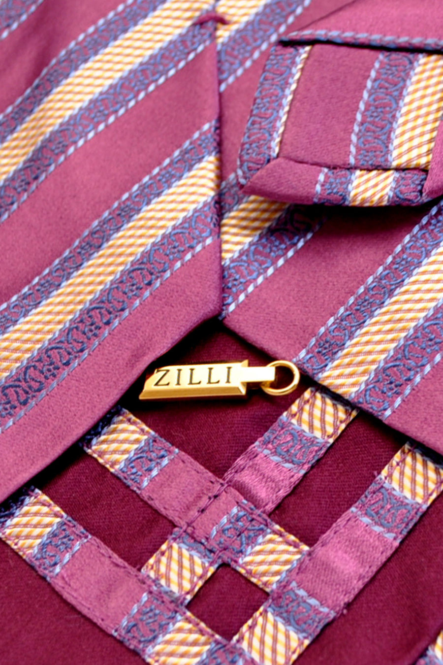 Zilli Tie Purple Gold Stripes - Wide Necktie