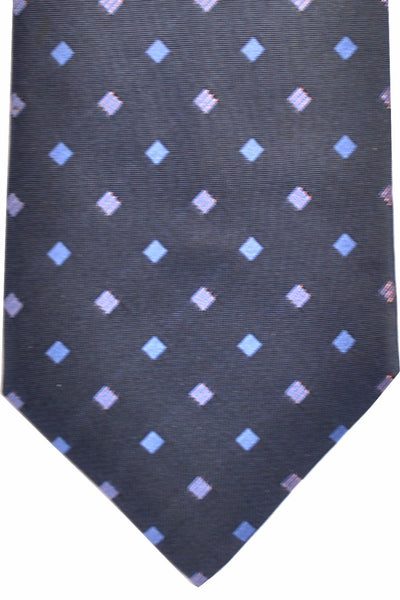 Zilli Tie Dark Navy Blue Pink Geometric - Wide Necktie