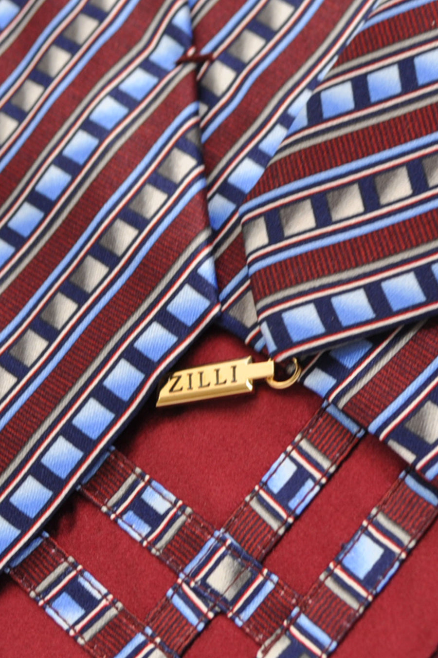 Zilli Tie Burgundy Blue Gray Stripes - Wide Necktie