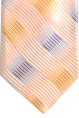 Zilli Tie Light Pink Blue Orange Wave - Wide Necktie