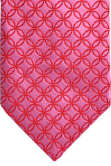 Zilli Tie Pink Red Geometric - Wide Necktie