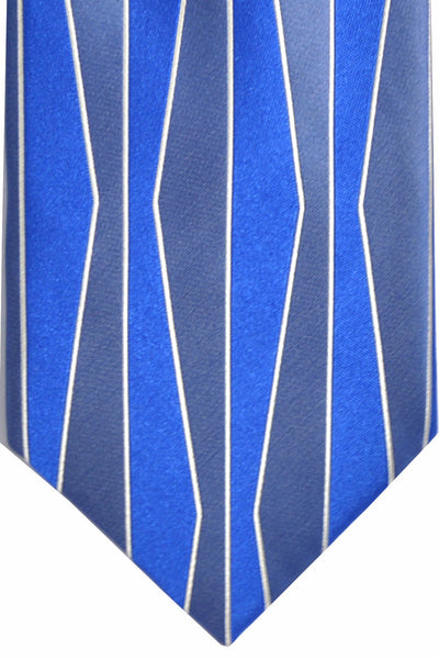 Zilli Tie Blue Metallic Blue White - Wide Necktie