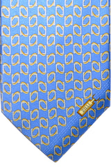 Zilli Tie Blue Cream Gold Silver Geometric - Wide Necktie