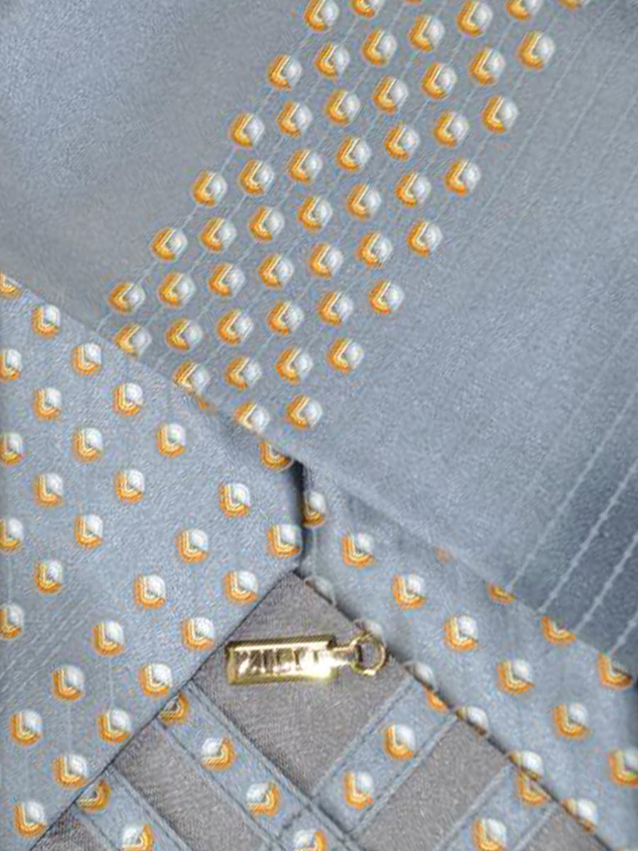Zilli Silk Tie & Pocket Square Set Gray Gold Geometric