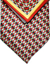 Zilli Silk Tie & Pocket Square Set Black Gray Red Gold Geometric
