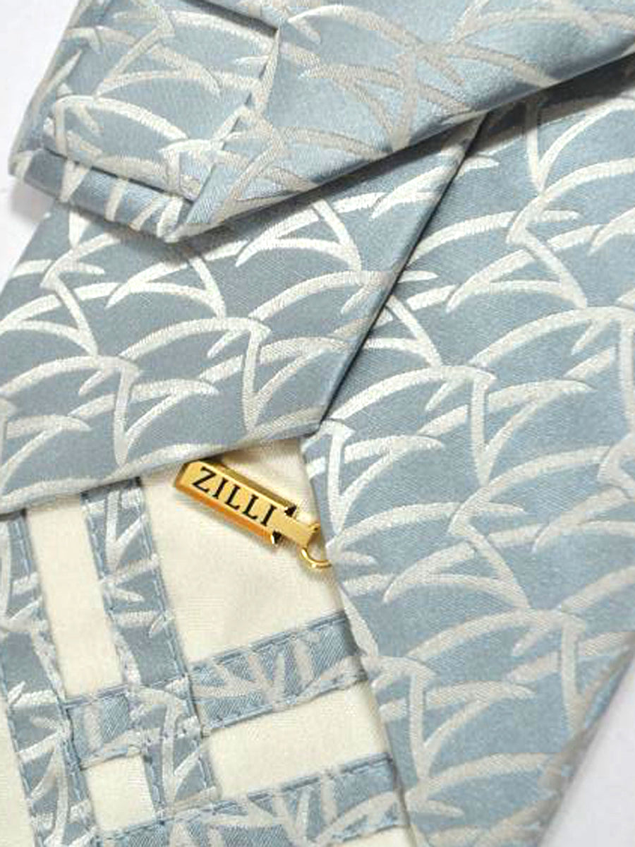 Zilli Silk tie Gray Geometric Design - Wide Necktie