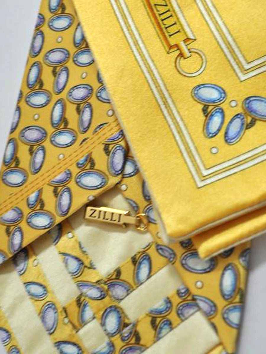 Zilli Tie & Pocket Square Set Yellow Cuff Links