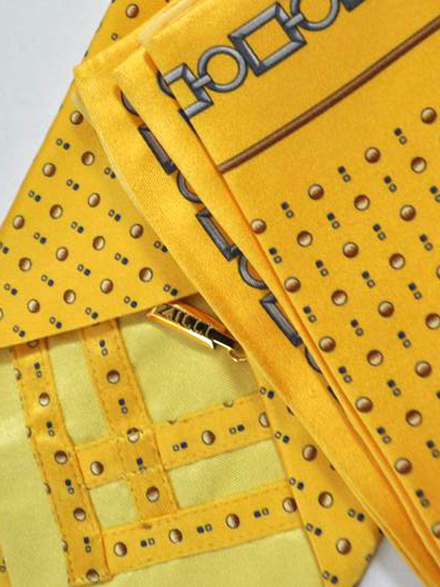 Zilli Tie & Pocket Square Set Yellow Dots