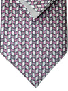 Zilli Tie & Pocket Square Set Gray Pink Geometric