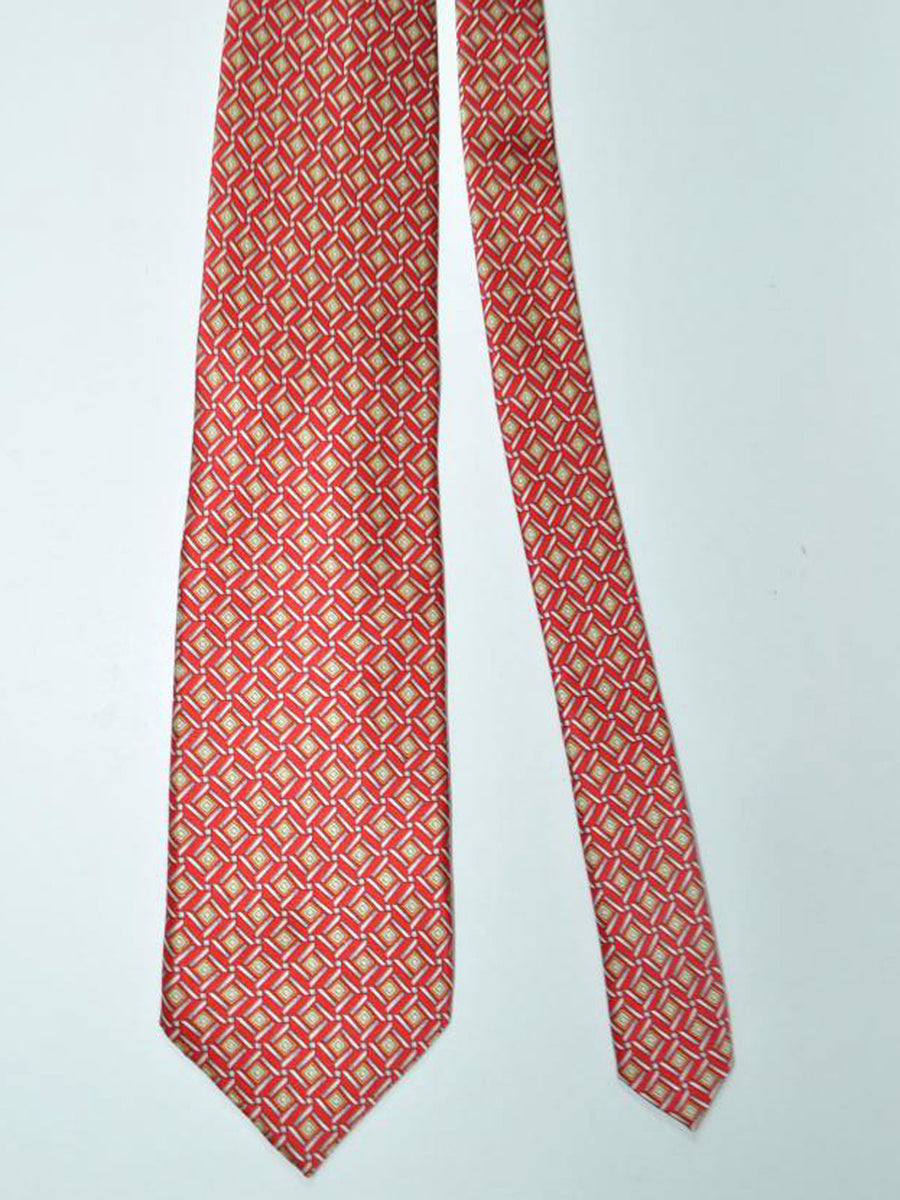 Zilli Tie & Pocket Square Set Red Gray Gold Geometric