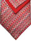 Zilli Tie & Pocket Square Set Maroon Gray Geometric