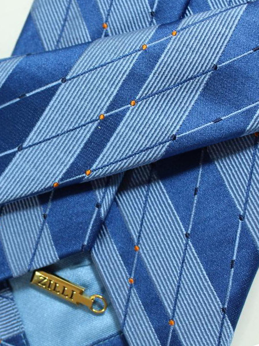 Zilli Tie Blue Orange Stripes Design - Wide Necktie