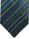 Zilli Tie Dark Brown Royal Blue Stripes Design - Wide Necktie