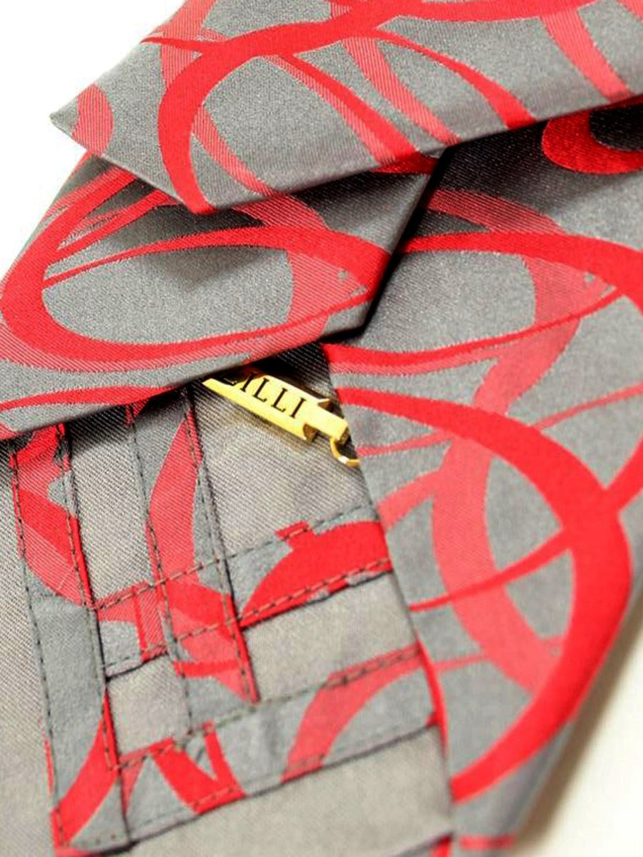 Zilli Tie Gray Red Swirl Design - Wide Necktie