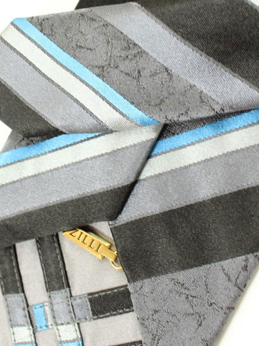 Zilli Tie Gray Sky Blue Black Stripes Design - Wide Necktie