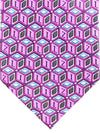 Zilli Tie Pink Purple Gray Geometric Design - Wide Necktie