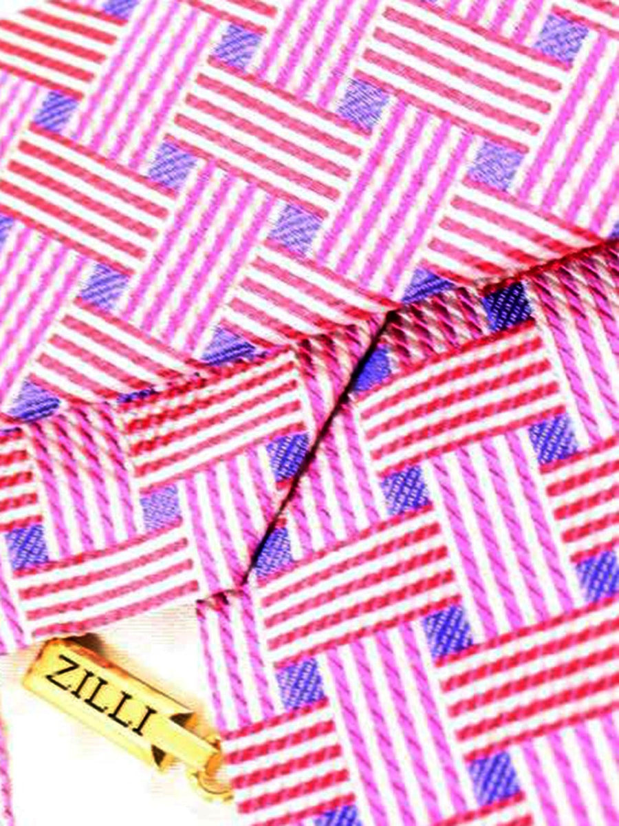 Zilli Tie Pink Royal Blue Red Check Design - Wide Necktie