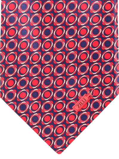 Zilli Silk Tie Purple Pink Geometric - Wide Necktie
