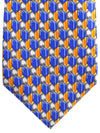 Zilli Extra Long Tie Royal Orange Gray Geometric